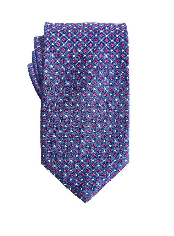 Blue with Fuscia Geo Flower Tie
