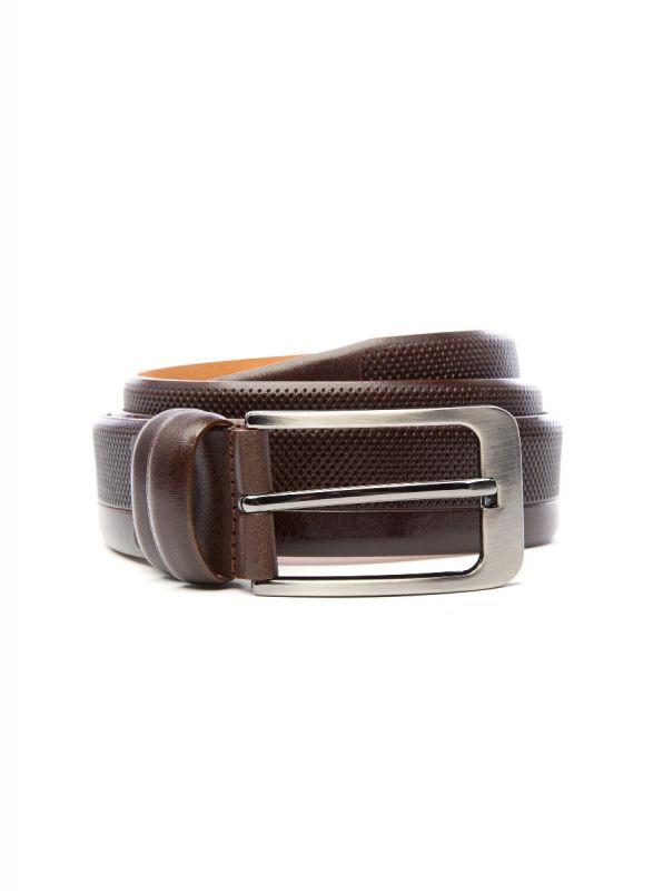 Textured Brown Leather Belt