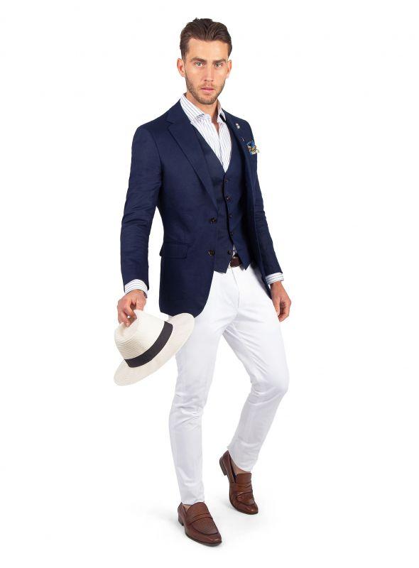 Verona Navy Linen Jacket