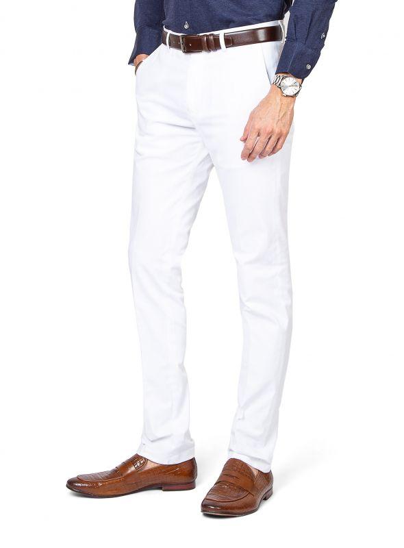Brera White Cotton Chino
