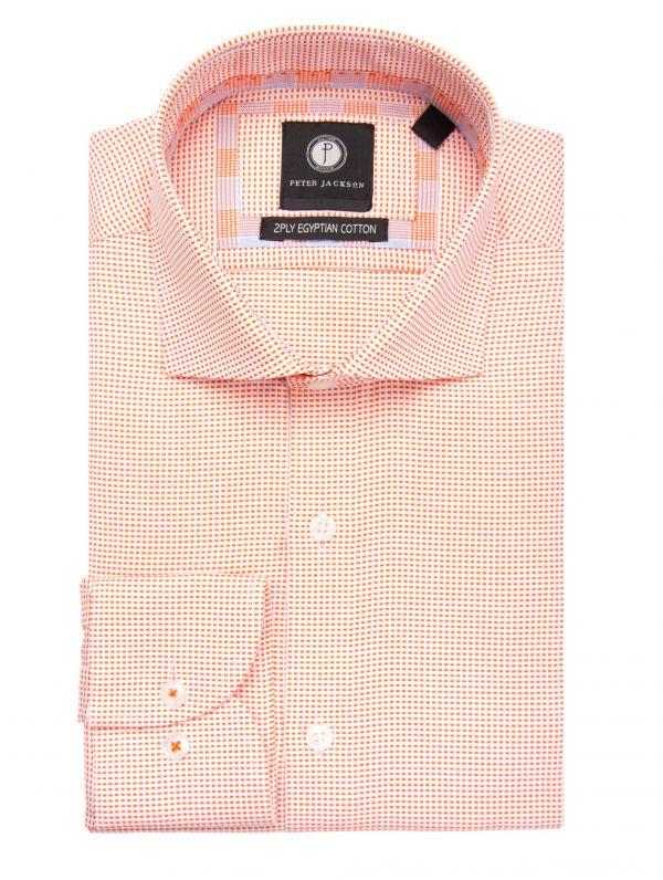 Orange & White Mini-Grid Shirt