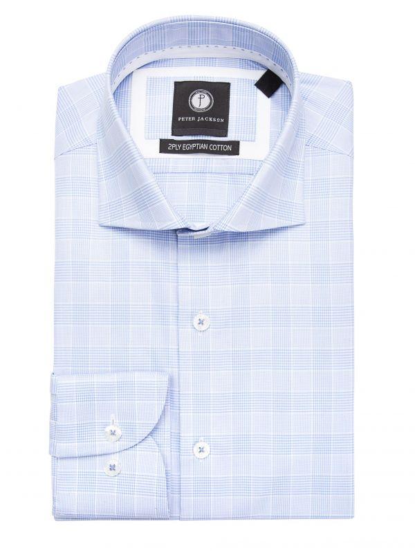 Sky Blue Glen Plaid Shirt
