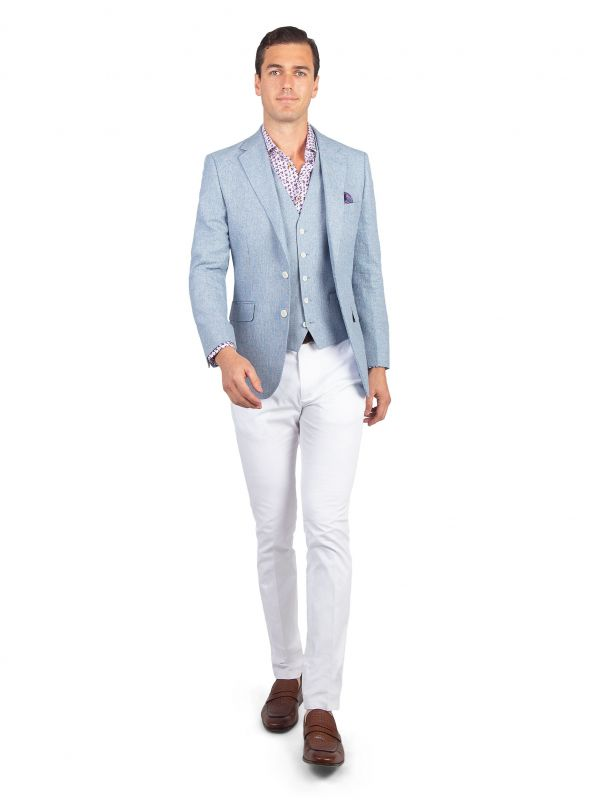 Verona Sky Blue Stepped Weave Jacket