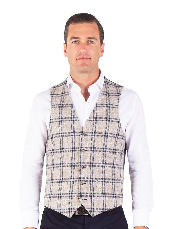 Tiber Mouline Navy Check Vest