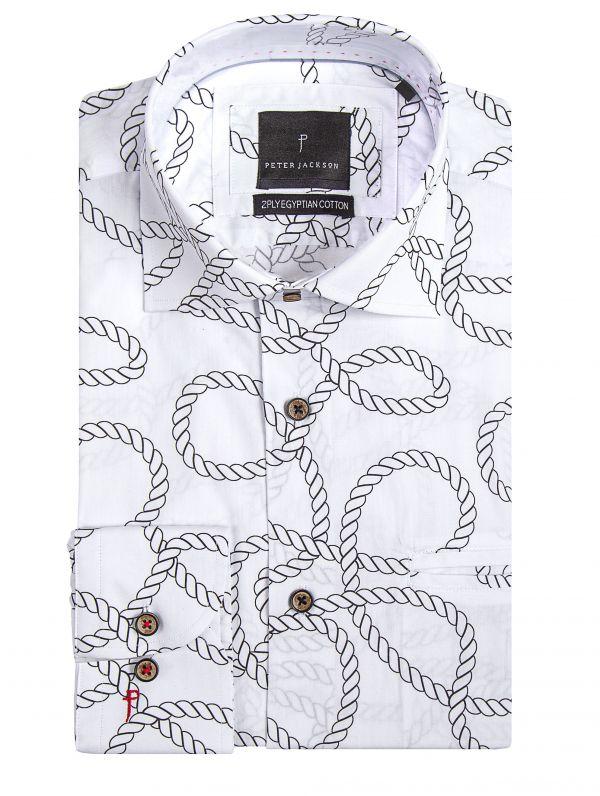 White Rope Print Shirt