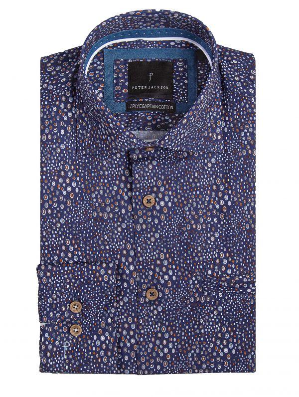 Rimini Blue & Caramel Dotted Shirt