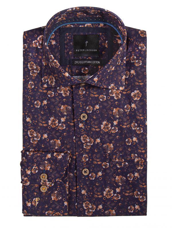 Rimini Navy & Orange Floral Shirt