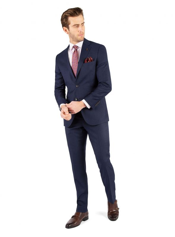 Alessandro Navy Blue Thatched Weave Suit