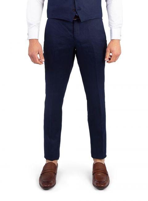 Venezia Navy Linen Trouser