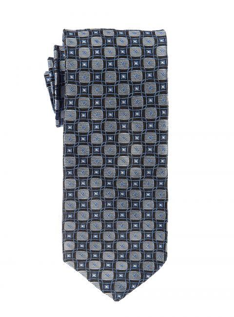 Black Silver Retro Ripple Tie