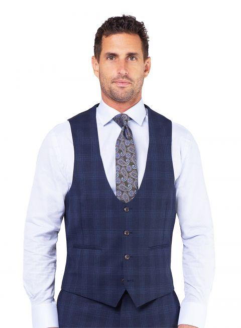 Ortona Navy Check Vest