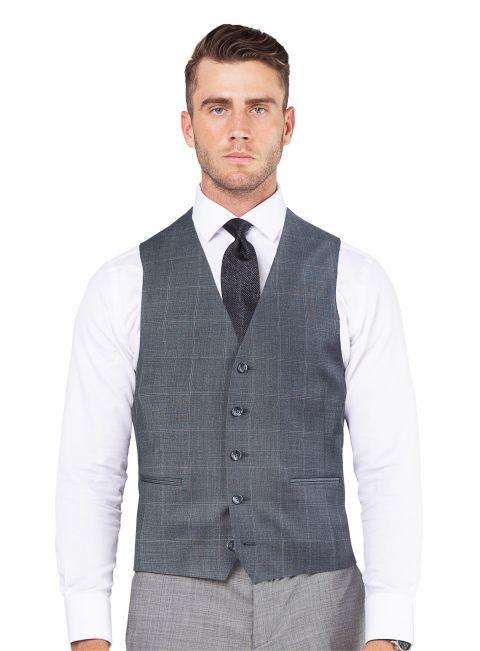 Grey Oversized Plaid Vest