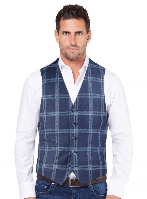 Tiber Blue Check Vest