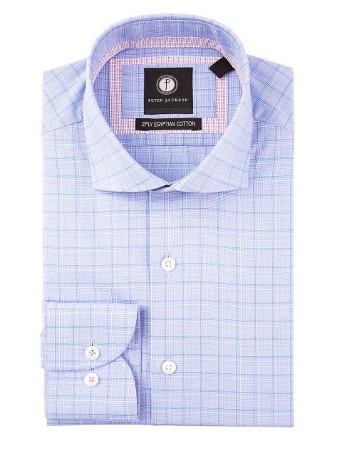 Blue & Lilac Business Check Shirt