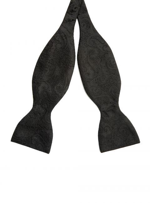 Paisley Black Bow Tie
