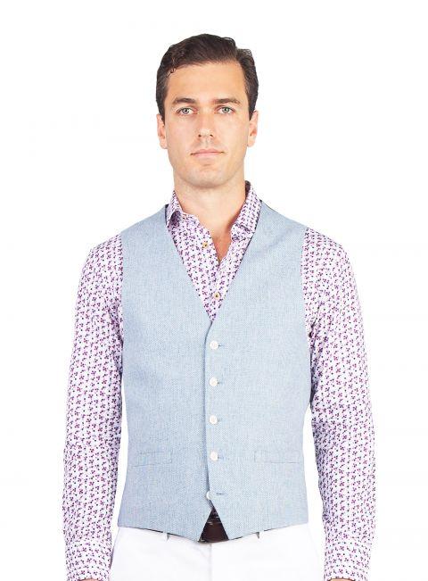 Tiber Sky Blue Stepped Weave Vest