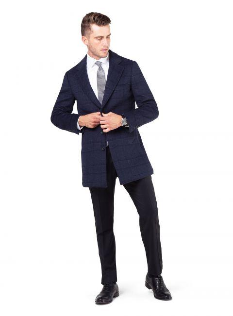 Moritz Navy Double-Faced Overcoat