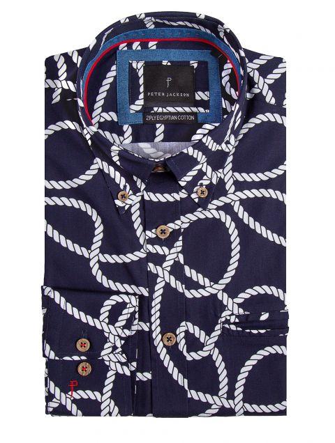 Navy Rope Print Shirt