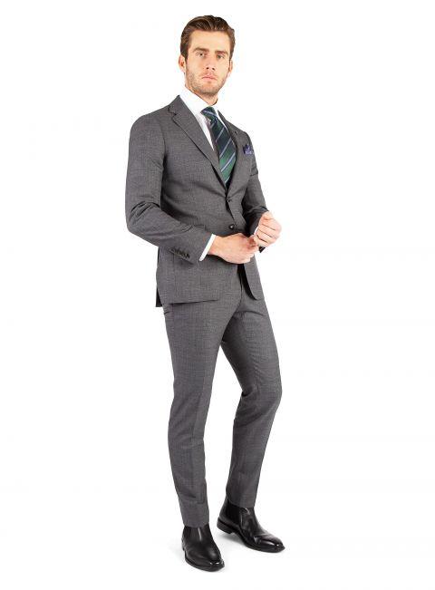 Domenico Grey Milled Sharkskin Suit