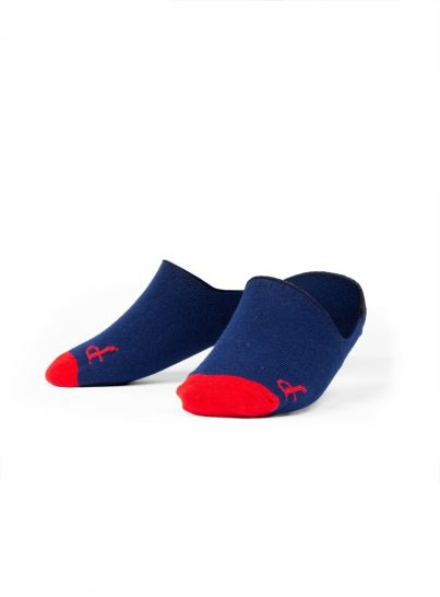 Navy/Red No-Show Sock