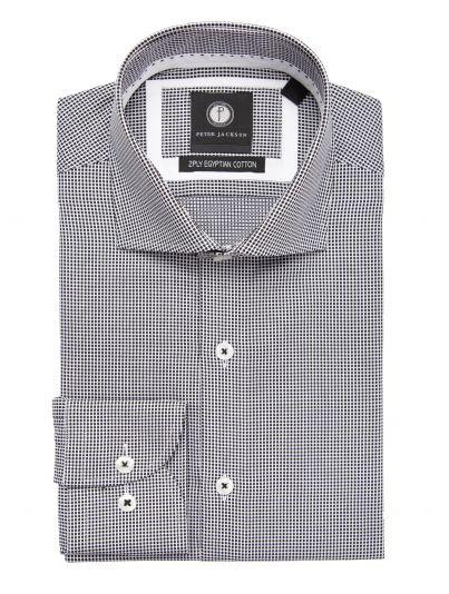 Black & White Dot-Grid Shirt