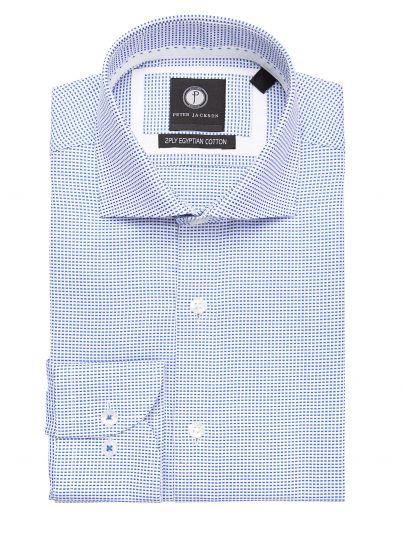 Blue & White Mini-Grid Shirt