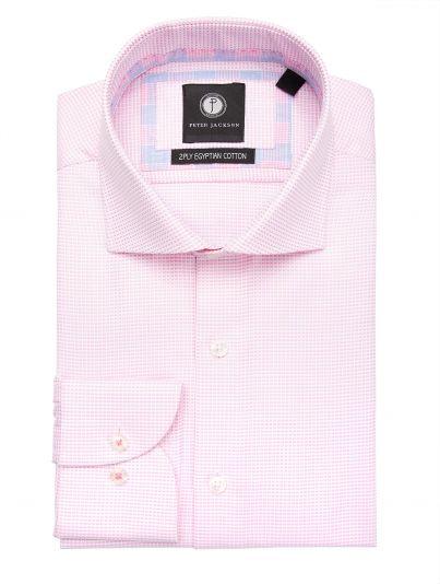 Pink & White Mini-Grid Shirt